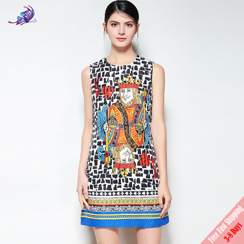 2018 Runway Designer Dress High Quality Womens Sleeveless Playing Cards Hearts K Sequin Beading Printed Short Dresses Free DHL