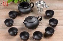 Yixing Lila sand tee-set 11 stück schwarz keramik kung fu Teekanne, handmade Lila sand teekanne teetasse, business büro gute gilt