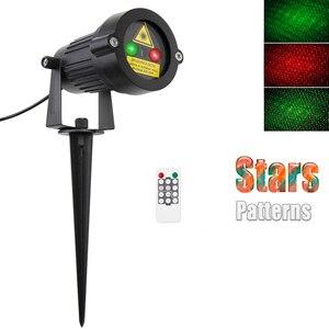 Image 2 - Projecteur Laser étoiles lumières noël rouge vert statique scintillement avec télécommande étanche extérieur jardin douches arbre décoration