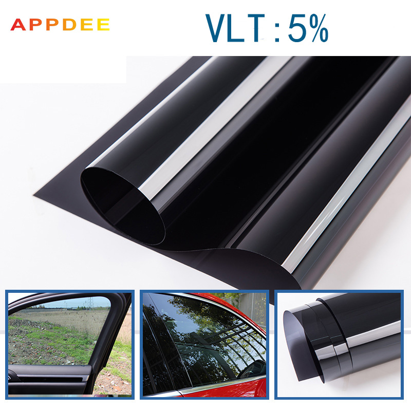 50x300CM/Lot Non-toxic Dark Black Car Window Tint Film Glass VLT 5% Roll 2PLY Car Auto House Commercial Solar Protection Summer