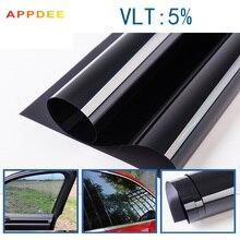 50x300CM/Lot Non-toxic Dark Black Car Window Tint Film Glass VLT 5% Roll 2PLY Car Auto House Commercial Solar Protection Summer