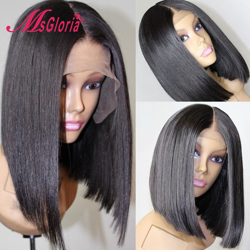 Short Bob Lace Front Human Hair Wigs For Black Women Pre Plucked Full Lace Human Hair Wigs Brazilian Remy Straight Middle Part