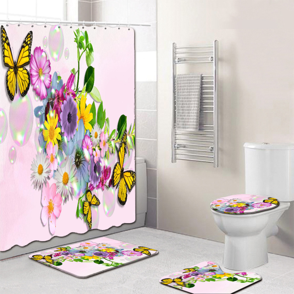 Butterfly Bathroom Curtain Set Made With PVC Material For Bathroom And Toilet Use 2