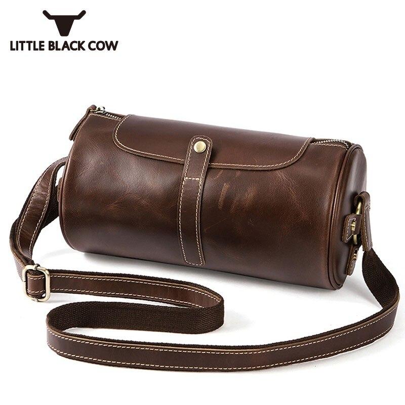 Men Real Leather Barrel Bags Vintage Solid Brown Shoulder Bag Male Famous Brand Crossbody Bags For Men 2019 Luxury Travel Bolsa