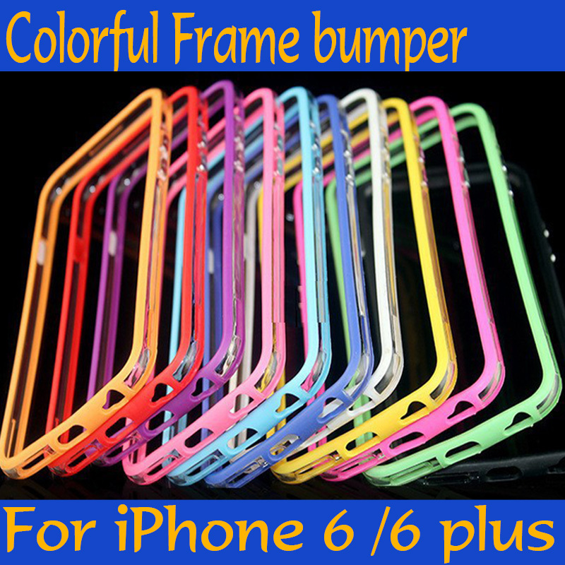 10 colors Bumper Shockproof soft rubber with a metal frame key cover for Iphone Capa Para Fundas 4 4S 5 5SE 6 6plus 6S plus 7