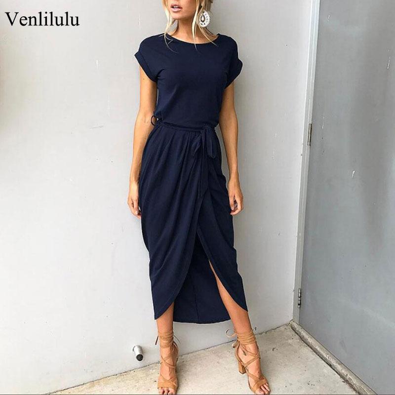 2020 Long Party Dresses Plus Size Summer Short Sleeve Women Dress Elegant Maxi Loose Vestidos Casual Sundresses Female XXL XXXL