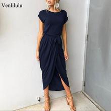 2021 largo fiesta vestido de talla grande de verano de manga corta vestido largo suelto Casual traje mujer Vestido Mujer XXL XXXL