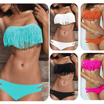 2018 Sexy Bikini Women Tassel Swimsuit with Pad Low Waist Swimwear Femme Push Up Beachwear Solid Color Wire Free Bikinis Set