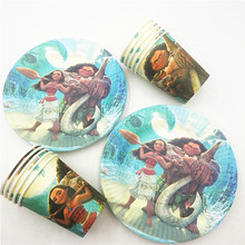 20pcs/set Cartoon Moana Theme Party Supplies Plate/Cup Kids Birthday Decoration Festival Favors Boys/Girls