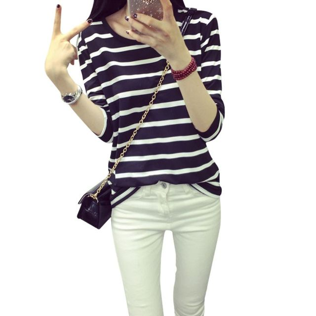 7c4a6aab035e Korean Tops Style Women s Long Sleeve Loose Girls T shirt Cropped Pattern  Blend O-neck