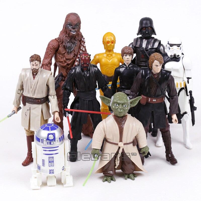 Star Wars Yoda Darth Vader Obi Wan Stormtrooper C 3PO R2 D2 Chewbacca PVC Action Figures Collectible Model Toys 10pcs/set стоимость