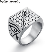 Valily Men Pyramid Ring Horus Eyes Anubis Pattern Triangle Stainless Steel Geometric Rings Jewelry For Wholesale