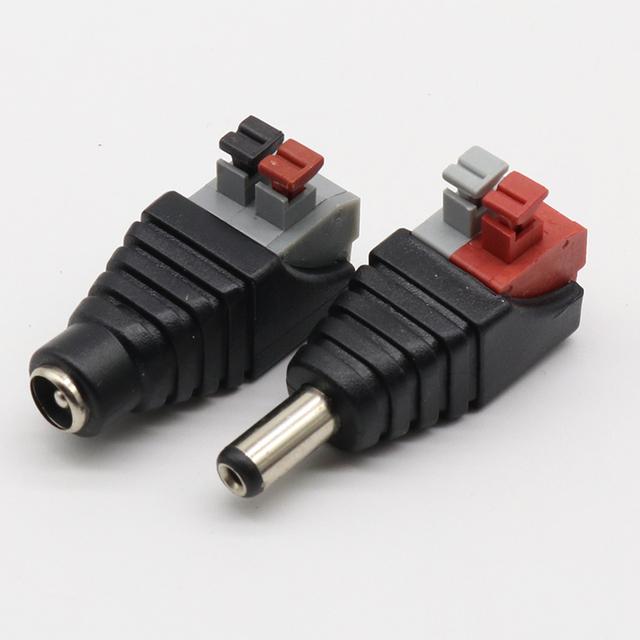 5pcs DC Male +5 pcs DC Female connector 2.1*5.5mm DC Power Jack Adapter Plug Connector for 3528/5050/5730 single color led strip