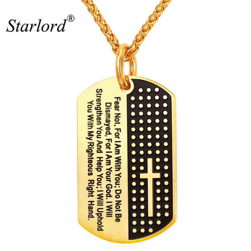 Starlord Inspirational Jewelry Cross Letter Necklace Pendant Yellow Golden Rope Chain Dog Tags Lord Prayer For Women/Men  GP2378 Ожерелье