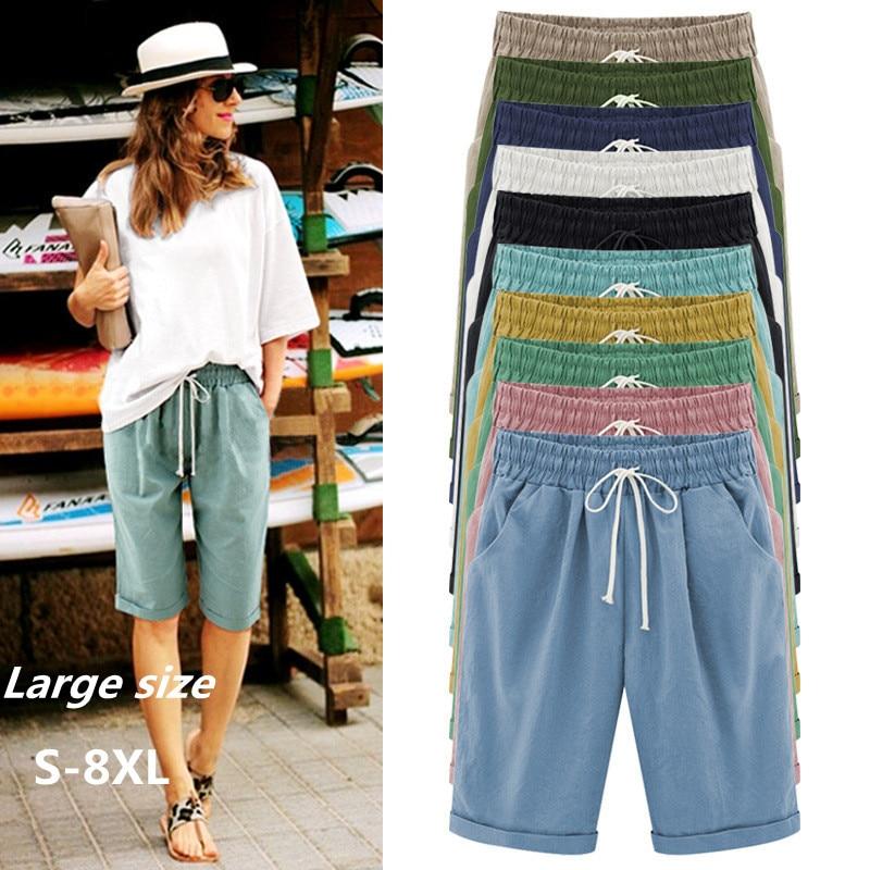 Plus size S-8XL new summer thin Cotton casual   pants   women Elastic waist Knee Length   Wide     leg     pants   female Loose Cozy slacks G121