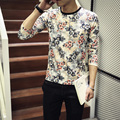 2016 New Fashion Brand Trend Floral Slim Fit Long Sleeve T Shirt Men Tee O-Neck Casual Men T-Shirt Casual T Shirts Plus Size 5XL