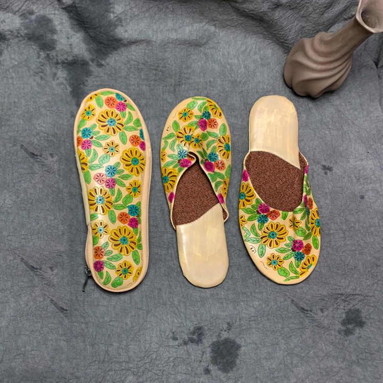Johnature из натуральной кожи с принтом 2019 новые летние домашние тапочки с цветочным рисунком Тотем без каблука с Национальный стиль Повседневное шлепанцы; женская обувь