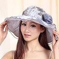 2016 Algodón Sombreros Para Mujer Señoras Del Verano de Ala Ancha playa de Moda Sombreros Chapeau Gran Patterm Floral Sol Tapas de Marca Praia