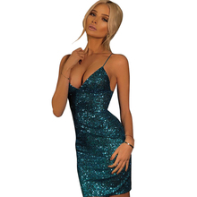 Sexy V-neck Sequin Women Dress Spaghetti Strap Sleeveless Backless Mini Dresses Party Club For Womens