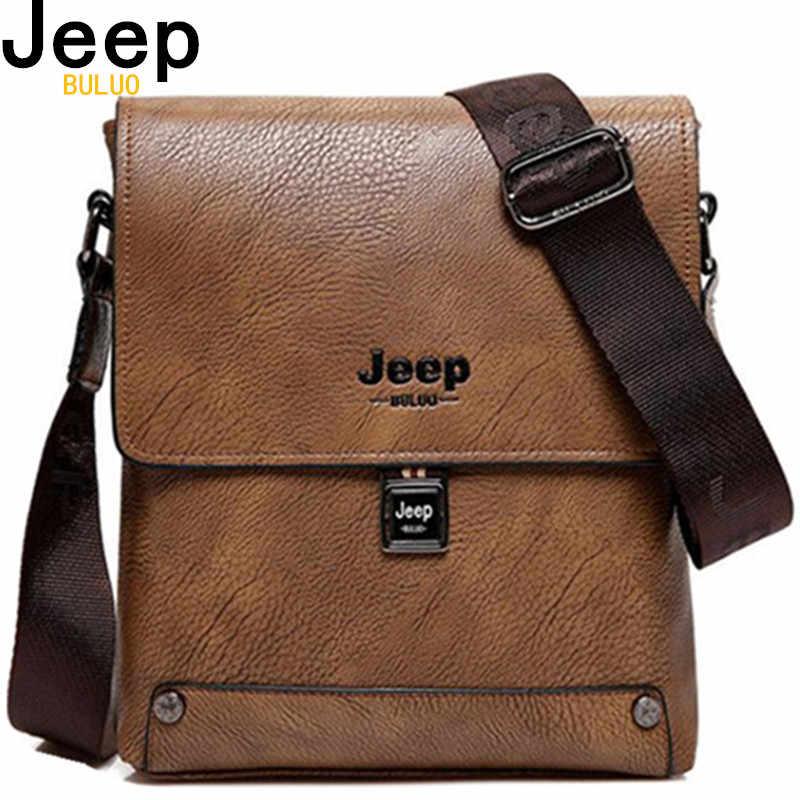 407a295969d2 JEEP BULUO Famous Brand Bag Man Business Briefcase Man s High Quality Cow  Split Leather Messenger Shoulder