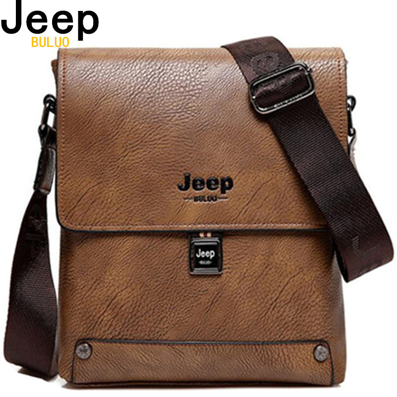 JEEP BULUO Famous Brand Man Business Bag Man's High Quality Cow Split Leather Messenger Shoulder Bags Male Totes 5840