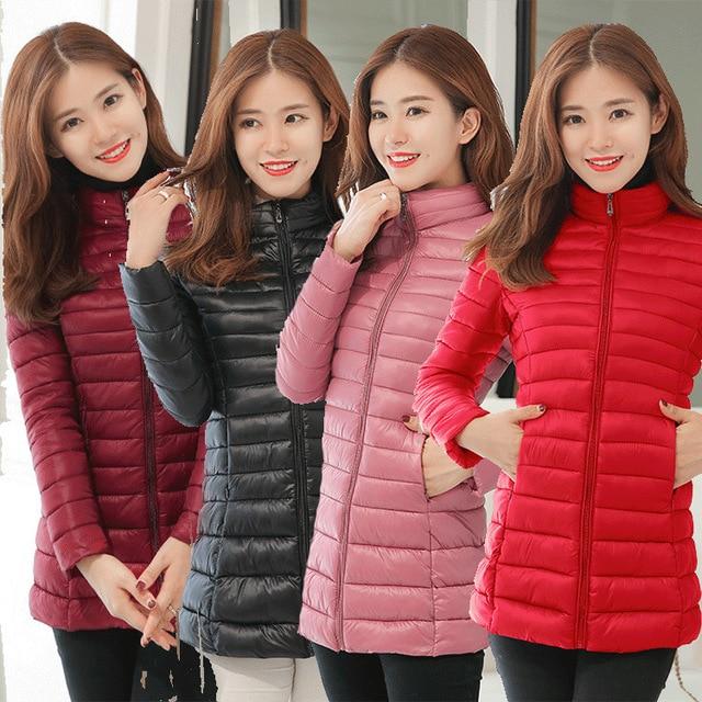 Parka Jacket Women Plus Size Clothing 4XL Spring Autumn Winter Coat Manteaux Femme Made Of Goose Feather Parka Pink Black 2018 1