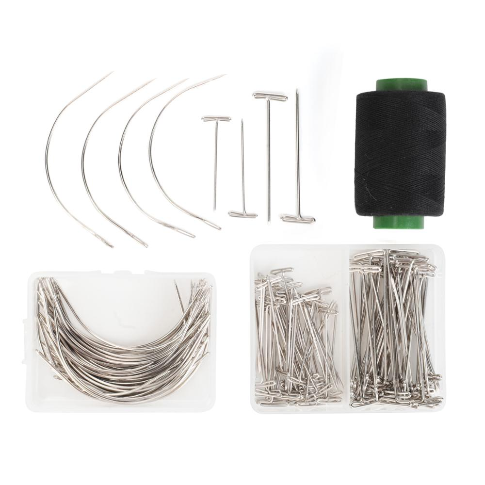 61pcs/set T Pins C Needles Wig Sewing Cord For Holding Wigs Hair Extender Wig Making Blocking Knitting Modelling Hair DIY Tools