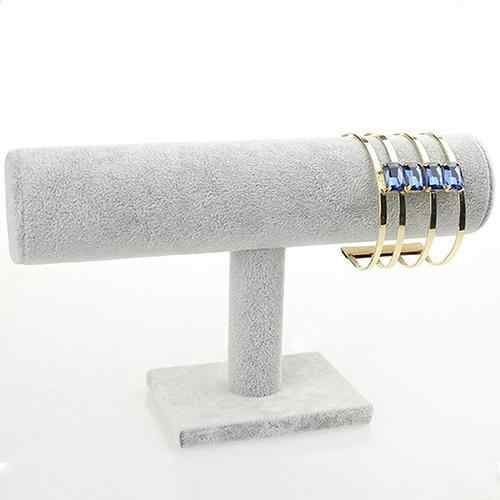 Beludru Kulit T-Bar Rak Display Perhiasan Gelang Watch Jewelry T-Bar Display Stand Pemegang Rak Lembut untuk sentuh Perhiasan Stand
