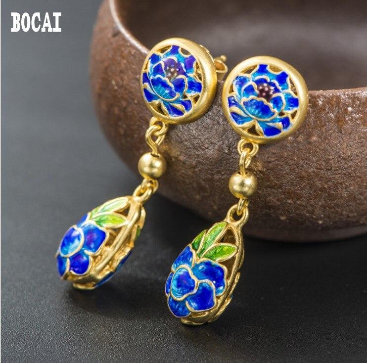 New 925 sterling silver gold earrings lotus enamel roasted blue earringsNew 925 sterling silver gold earrings lotus enamel roasted blue earrings