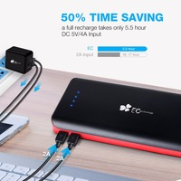 EC Technology 2 Micro USB Portable Mobile Charger With Auto IC Power Bank 2 Charging Cable