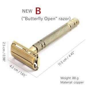 Image 3 - YINTAL Mens Bronze Classic Double sided Manual Razor Long Handle Safety Razors Shaving Replaceable Classic Razors
