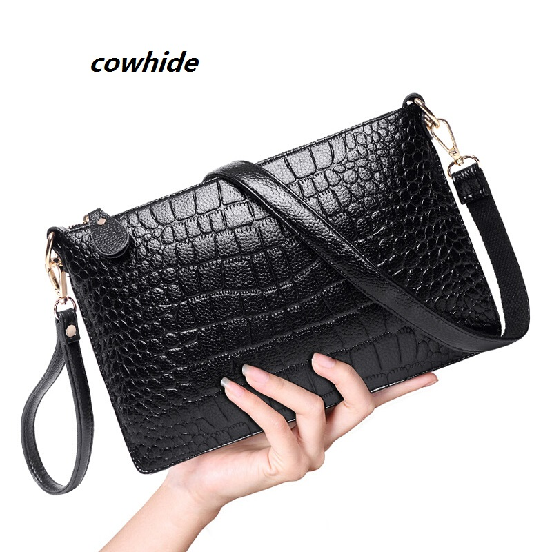 women clutch shoulder crossbody Genuine leather purses evening bags lady cowhid