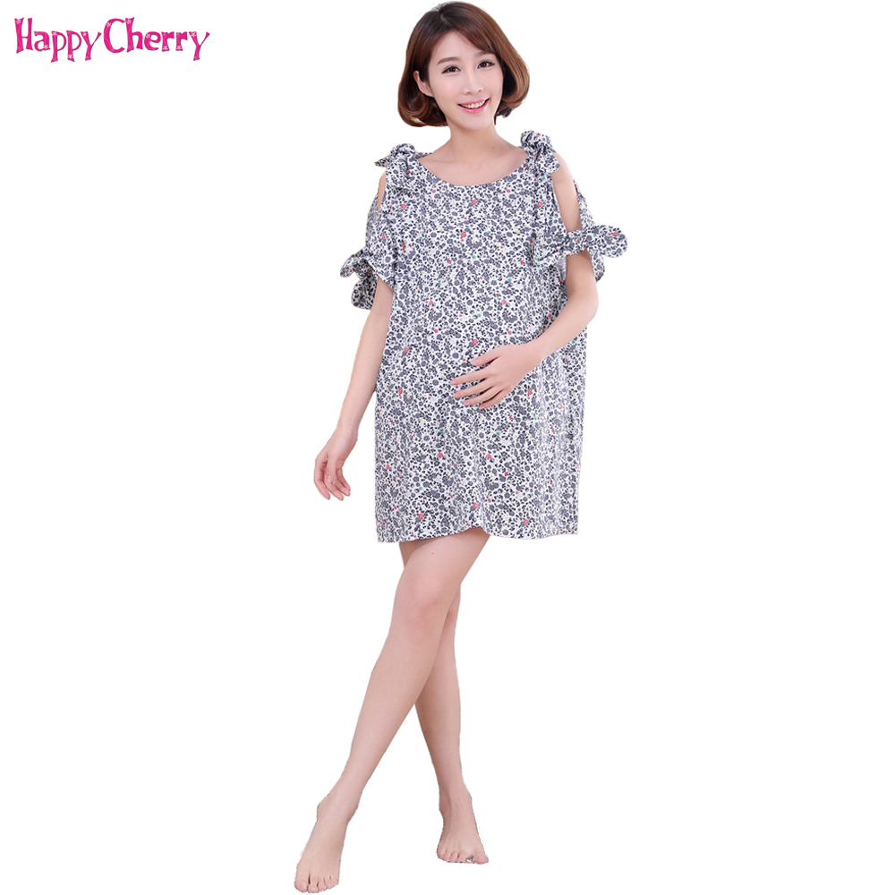 Happy Cherry Summer Pregnant Women Dress Clothes Brief Cute Maternity Dress Short Sleeves With Big Bowknot Maternity Women Dress