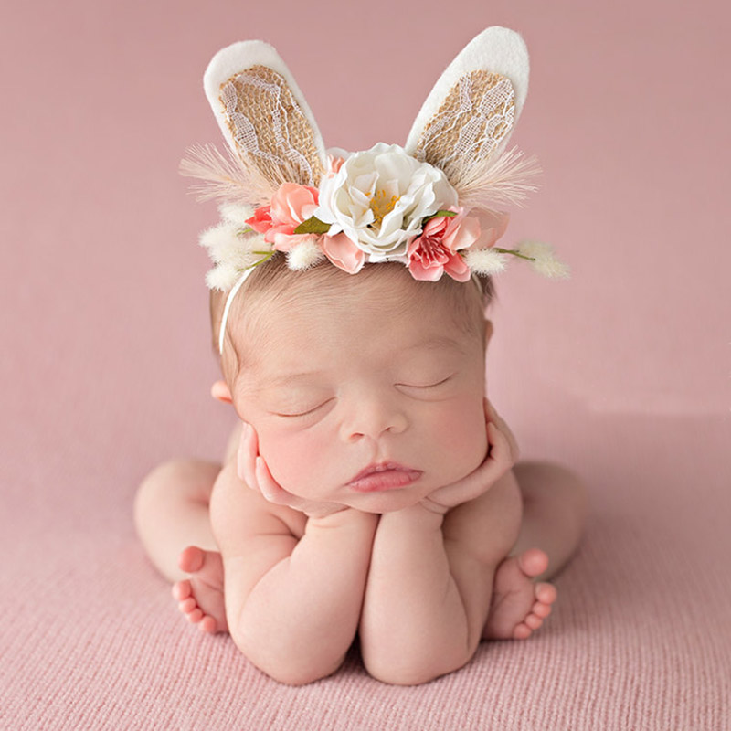 2018 Lovely Girls Flower Wreath Crown Headbands Handmade Rabbit Ears Flower Hair Bands Kids   Headwear   Hair Accessories Photo prop