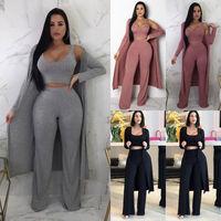 Hirigin 3 Piece Set Women Autumn 2018 Women Sweater Set Tracksuit Crop Top Vest + High Waist Wide Leg Pants + Windbreaker Cloak