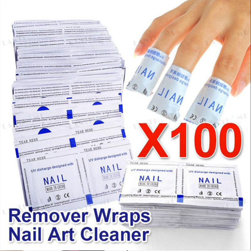 Removal Wraps Nail Polish Remover 100PCS/Lot Nail Art Lacquer Easy Cleaner Remover Nail Cleaner Pad Nail Art Tools
