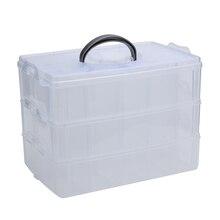 Прозрачная пластиковая коробка для хранения большого размера, креативная трехслойная съемная пластиковая коробка для хранения ювелирных изделий из бисера, контейнер для хранения косметики Z30
