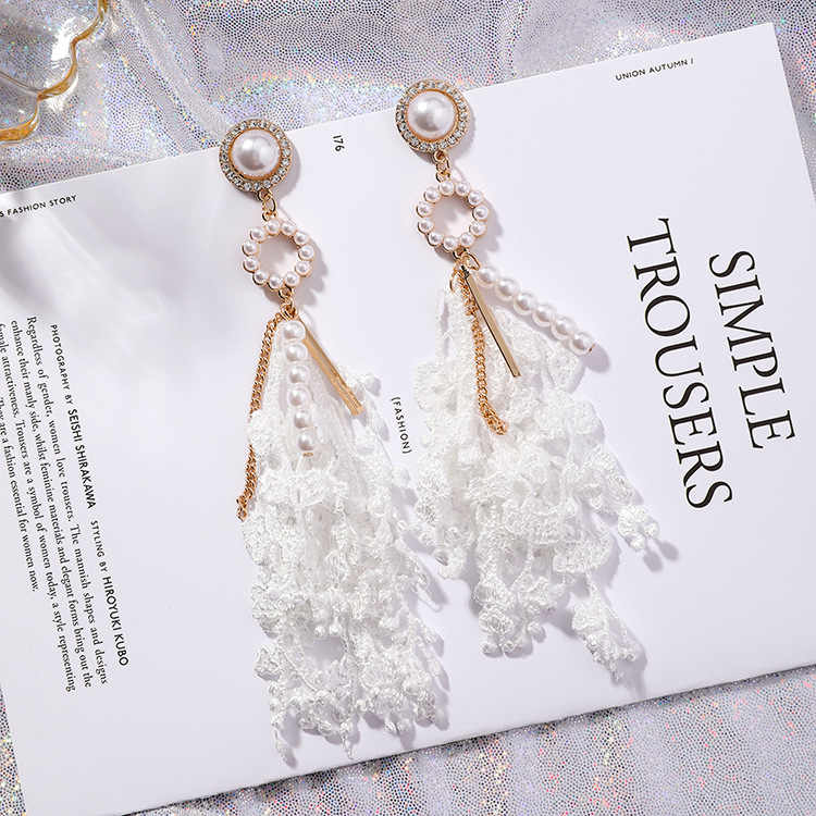 2018 Hot Fashion Sweety Simulated Pearl Circle White Flower Lace Long Tassel Earrings For Women Jewelry Pendientes Mujer Moda
