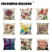 Fundas de cojín funda de almohada cuadrada de lino y algodón con flores Vintage para silla de decoración, asientos de jardín, dormitorio, Camping, regalos de algodón