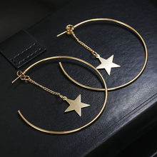 Personality Super Big Circles Hoop Earrings For Women Fashion Gold Color Jewelry Trendy Retro Big Round Circle Star Earrings(China)