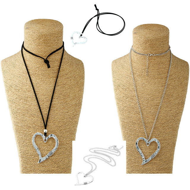 d30343b45ee9 1 Pcs Large Statement Abstract Metal Heart Pendant Long Curb Leather Link  Chain Lagenlook Necklace