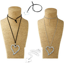 1 Pcs Large Statement Abstract Metal Heart Pendant Long Curb Leather/Link Chain Lagenlook Necklace