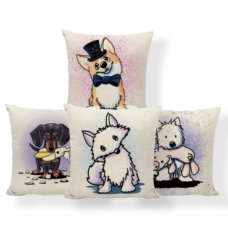 Dog Fox Cartoon Cushions Corgi Dachshund Schnauzer Pillow Case Farmhouse Style Bed Lumbar Support Throw Pillow Cover 45Cm Linen