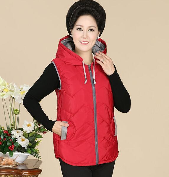 2015 del espesamiento del invierno patrones encapuchados ropa de abrigo Casual algodón mujeres chaleco chaqueta chaleco delgado h638