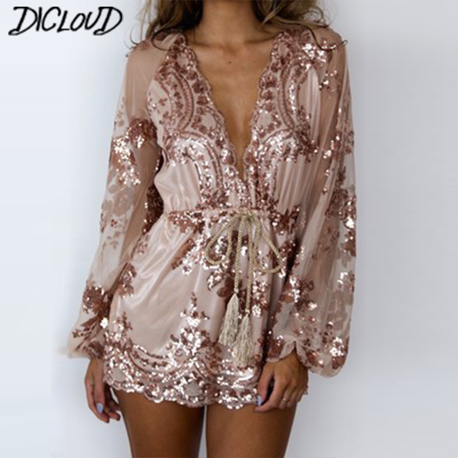 Sexy V-Neck Sequins Bodysuit Women 2018 Fashion Loose Mesh Yarn   Jumpsuit   Female Long-Sleeved High Waist Ribbon Flowers Playsuit