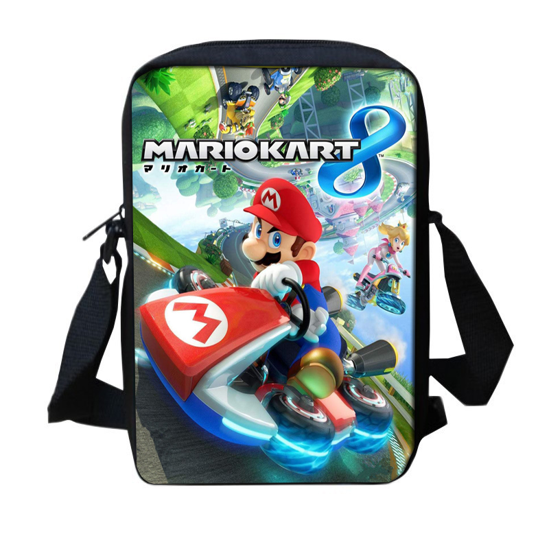 Fashion Mini Children School Trave Bag CartoonMario Kart 8 Printing Cross body Shoulder  ...