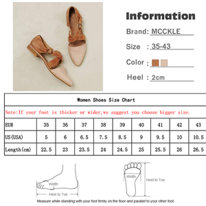 Image 5 - MCCKLE Women Pointed Toe Flock Cross Strap Pump Buckle Female Casual Solid     Footwear Comfortable Retro Ladies Shoes