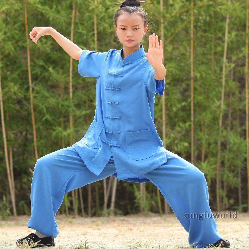 24 Farben Wudang Taoist Frauen Kurzarm Sommer Tai Chi Uniformen - Sportbekleidung und Accessoires - Foto 5