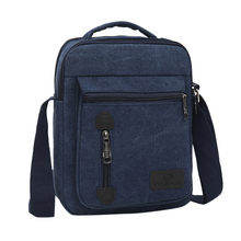 Mens BagFashion Canvas Solid Color Casual Business Shoulder and Messenger Bags bolso hombre sacoche homme(China)