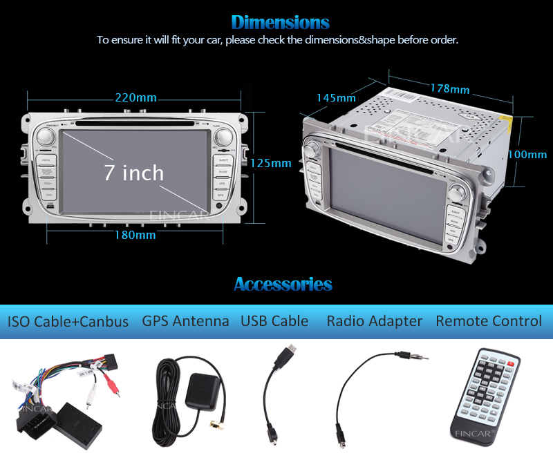 Car headunit radio DVD gps Player Android5.1 Double 2 Din in dash For Ford Focus Mondeo Wifi GPS Navigation Radio FM free canbus